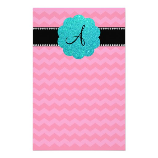 Monogram pink chevrons personalized stationery