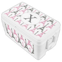 Monogram Pink Chic Eiffel Tower Pattern Chest Cooler