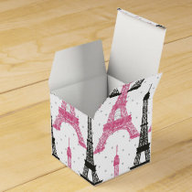 Monogram Pink Chic Eiffel Tower Pattern Favor Box