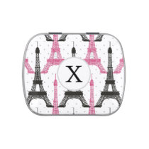 Monogram Pink Chic Eiffel Tower Pattern Jelly Belly Tin