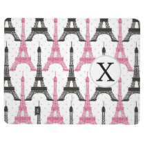 Monogram Pink Chic Eiffel Tower Pattern Journal