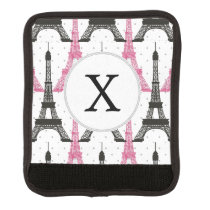 Monogram Pink Chic Eiffel Tower Pattern Luggage Handle Wrap