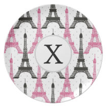 Monogram Pink Chic Eiffel Tower Pattern Melamine Plate