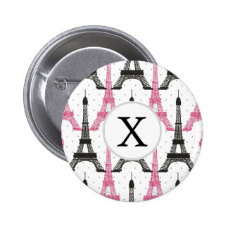 Monogram Pink Chic Eiffel Tower Pattern Pinback Button