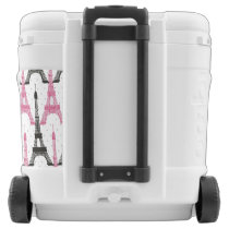 Monogram Pink Chic Eiffel Tower Pattern Rolling Cooler