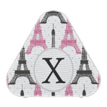 Monogram Pink Chic Eiffel Tower Pattern Speaker