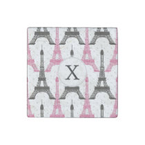 Monogram Pink Chic Eiffel Tower Pattern Stone Magnet