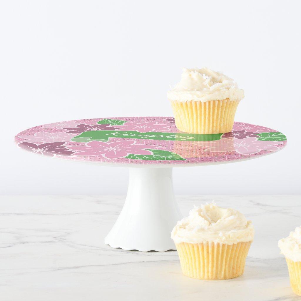 Monogram Pink Clematis Green Banner Japan Kimono Cake Stand