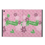 Monogram Pink Clematis Green Banner Japan Kimono iPad Air Cover