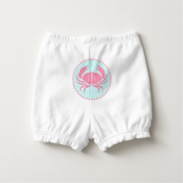 Beach Themed Monogram Pink Crab Blue Quatrefoil Diaper Cover