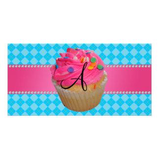 Monogram pink cupcake blue argyle photo greeting card