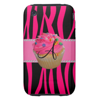Monogram pink cupcake hot pink zebra stripes tough iPhone 3 cover