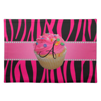Monogram pink cupcake hot pink zebra stripes cloth placemat