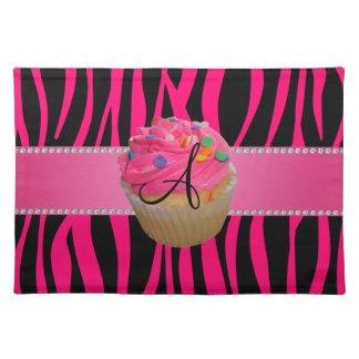 Monogram pink cupcake hot pink zebra stripes cloth placemat