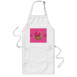 Monogram pink cupcake pink butterflies long apron