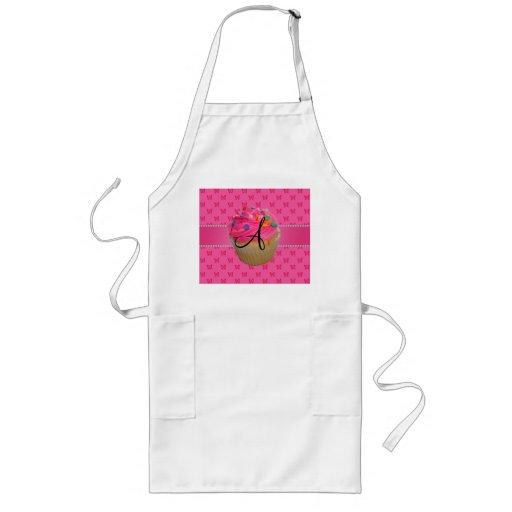Monogram pink cupcake pink butterflies aprons