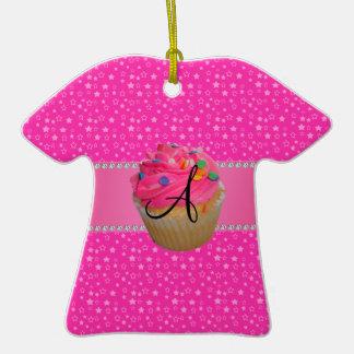Monogram pink cupcake pink stars christmas tree ornament