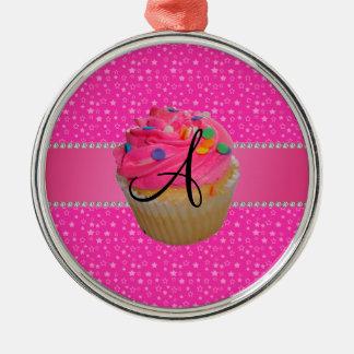 Monogram pink cupcake pink stars christmas ornaments