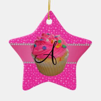 Monogram pink cupcake pink stars christmas tree ornaments