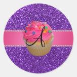 Monogram pink cupcake purple glitter classic round sticker