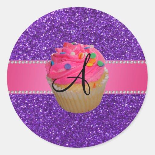 Monogram pink cupcake purple glitter stickers
