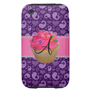 Monogram pink cupcake purple paisley iPhone 3 tough case