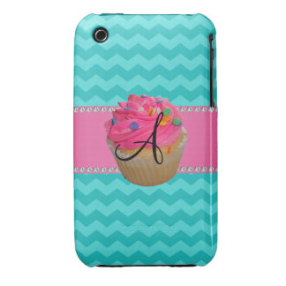 Monogram pink cupcake turquoise chevrons iPhone 3 Case-Mate cases