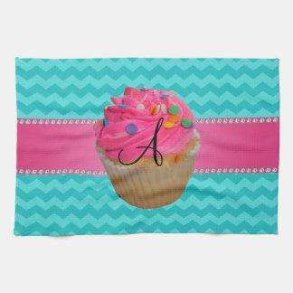 Monogram pink cupcake turquoise chevrons towel