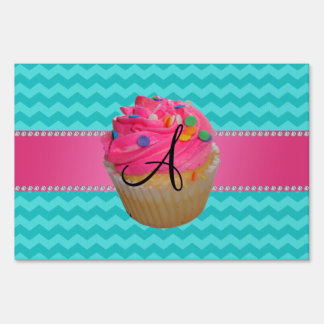 Monogram pink cupcake turquoise chevrons lawn sign
