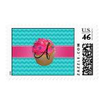Monogram pink cupcake turquoise chevrons postage stamps