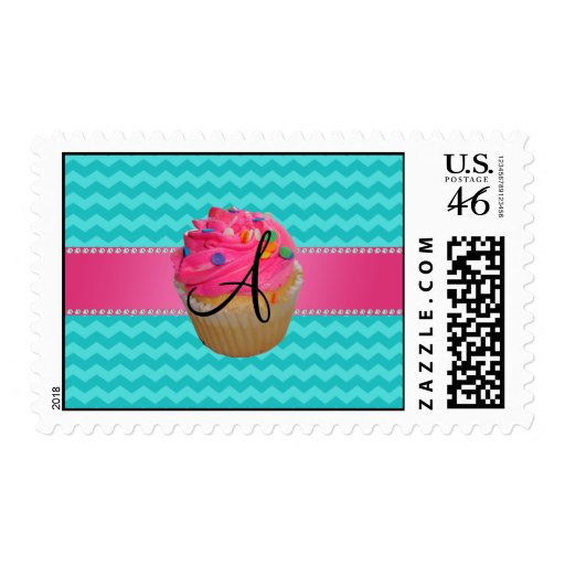 Monogram pink cupcake turquoise chevrons postage stamps