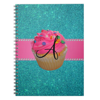 Monogram pink cupcake turquoise glitter spiral note books