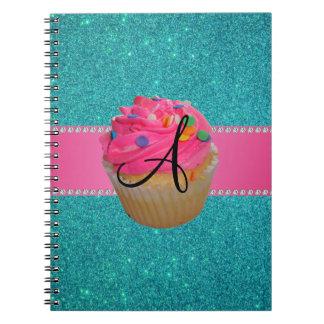 Monogram pink cupcake turquoise glitter spiral notebook