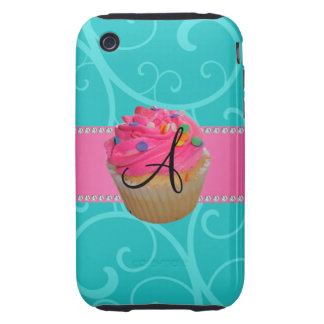 Monogram pink cupcake turquoise swirls tough iPhone 3 covers