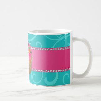 Monogram pink cupcake turquoise swirls coffee mugs