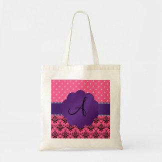 Monogram pink damask and diamonds bag