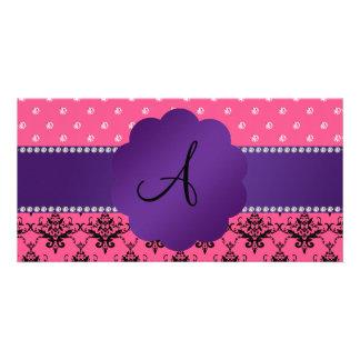Monogram pink damask and diamonds photo card