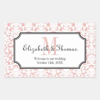 Monogram pink damask frame out of town gift bag rectangular sticker