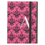 Monogram pink damask iPad folio case
