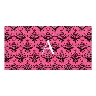 Monogram pink damask photo card