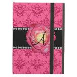 Monogram pink damask pink rose iPad folio cases