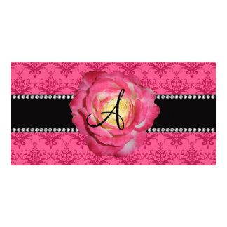 Monogram pink damask pink rose photo card