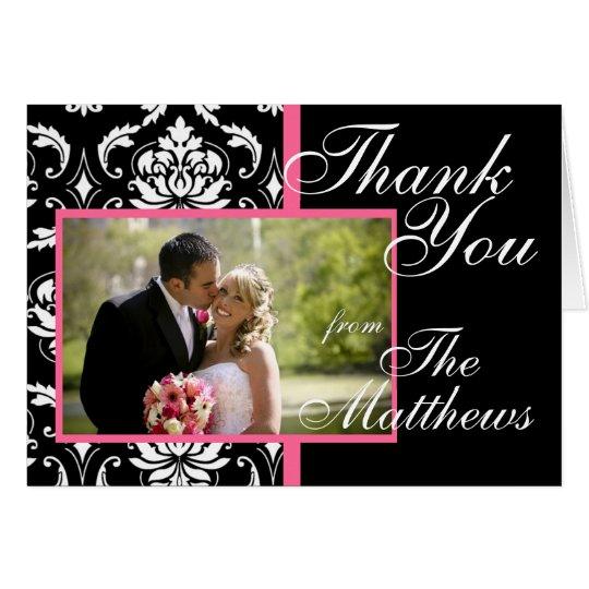 Monogram Pink Damask Wedding Photo Thank You Card