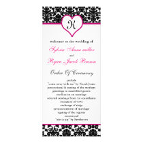 monogram pink damask Wedding program