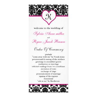 monogram pink damask Wedding program