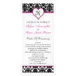 monogram pink damask Wedding program Rack Card Design