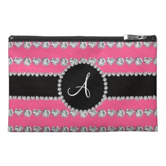 Monogram pink diamond hearts stripes travel accessories bag