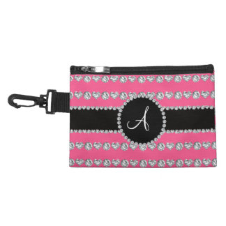 Monogram pink diamond hearts stripes accessory bag