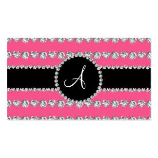 Monogram pink diamond hearts stripes business card templates
