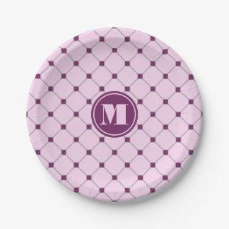 Monogram Pink Diamond Paper Plates